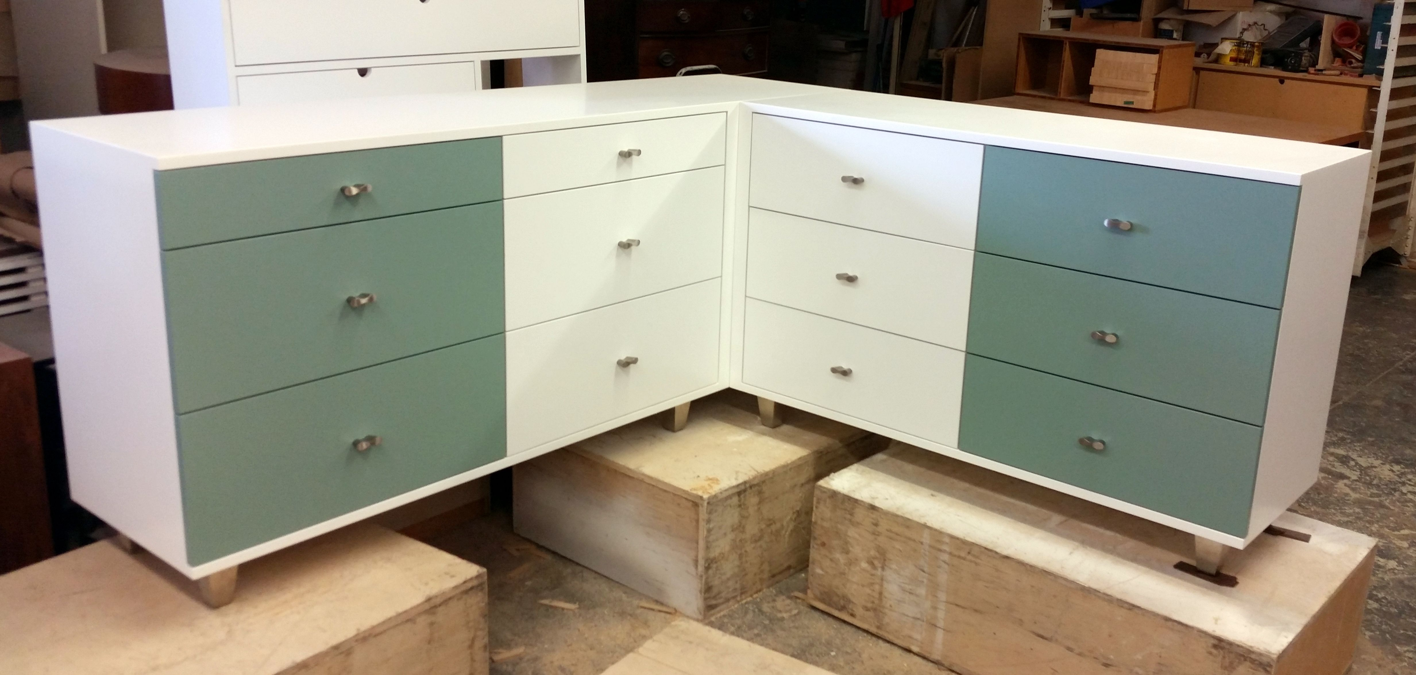 Custom L Shaped Corner Dresser In White Lacquer With Custom Green