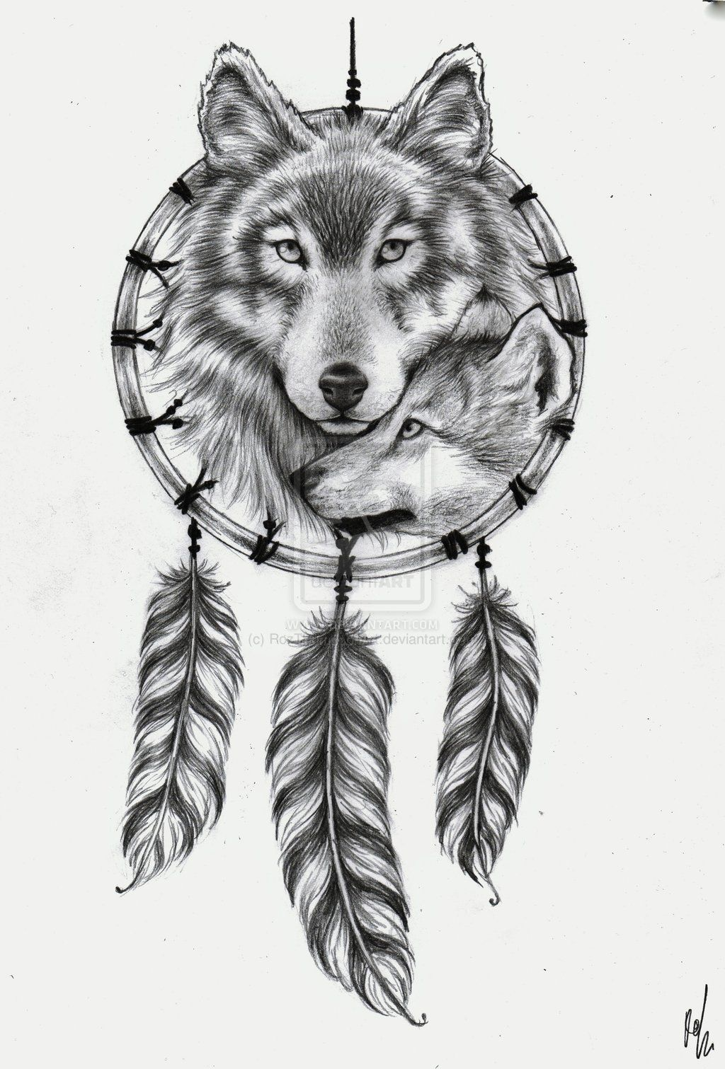 dreamcatcher wolves feathers white -#main