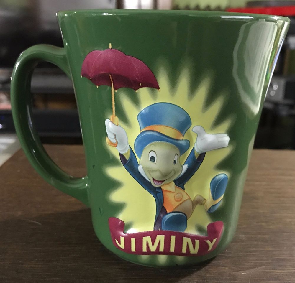Jiminy Cricket Mug Disney Store Coffee Mug Soup Tea Disney S Pinocchio Free S H Mugs Disney Store Coffee Mugs