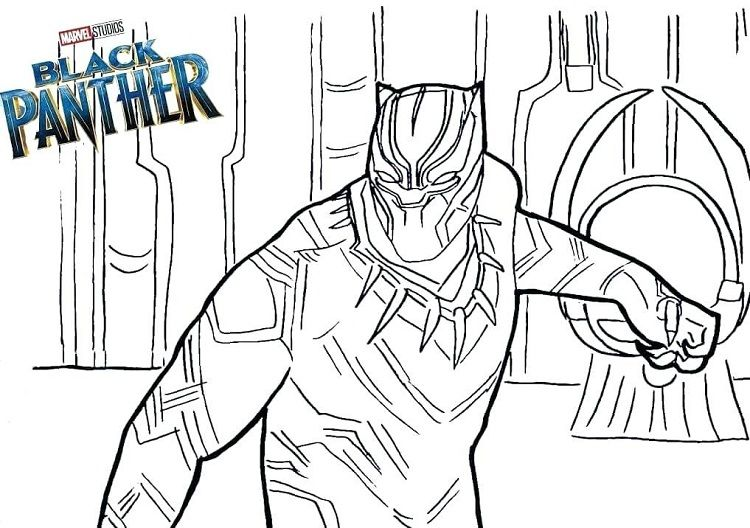 graphic relating to Avengers Coloring Pages Printable known as Black Panther Coloring Webpages Printable do-it-yourself Superhero