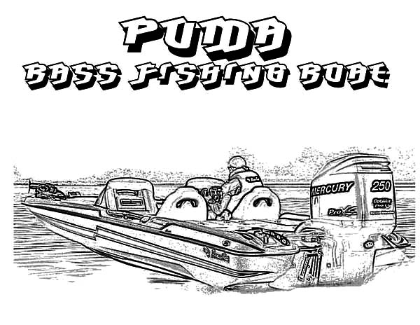 Puma Bass Fishing Boat Coloring Pages Kids Play Color Bass Fishing Boats Fishing Boats Coloring Pages