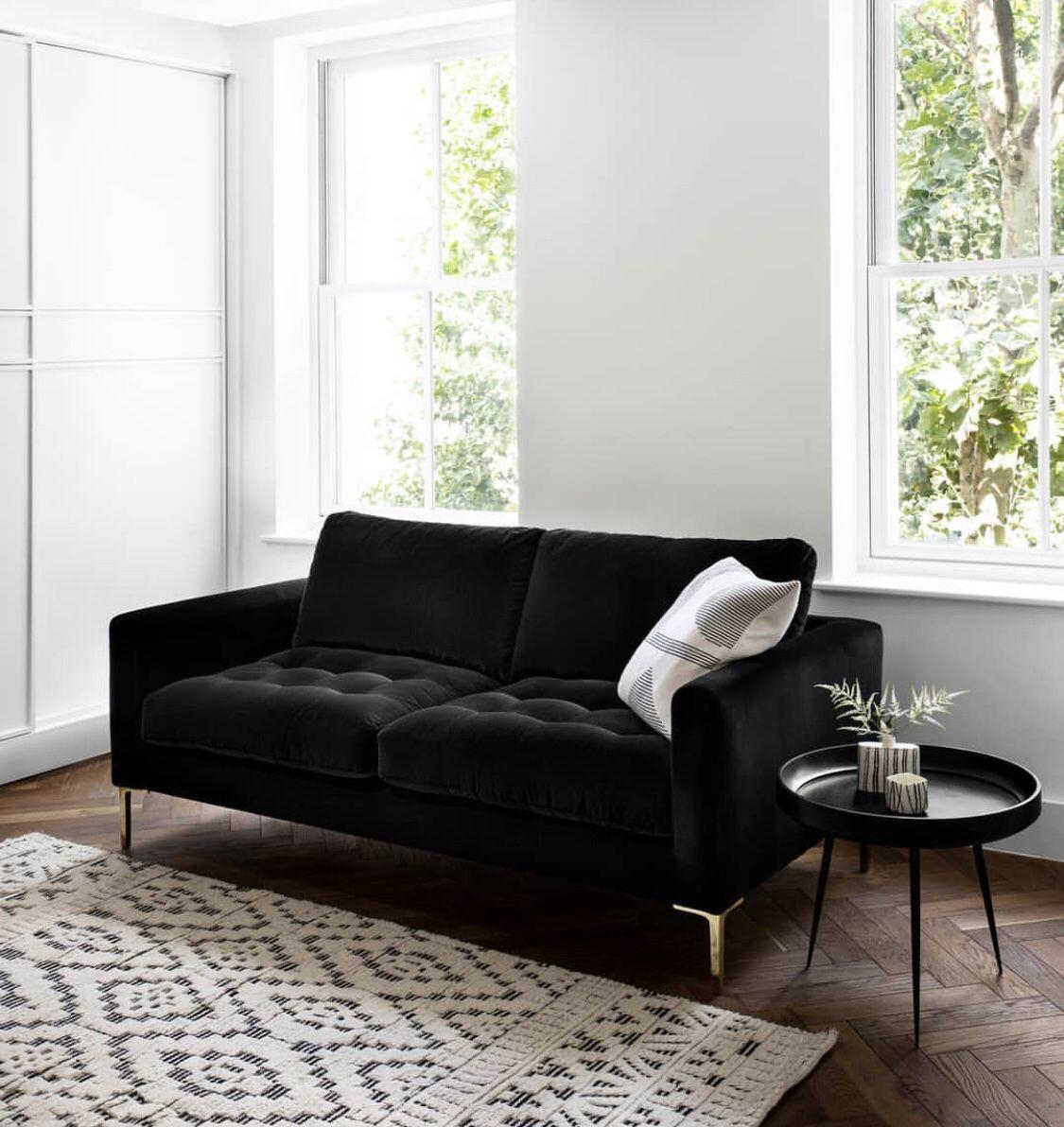 How To Style A Black Sofa  Black sofa living room decor, Black
