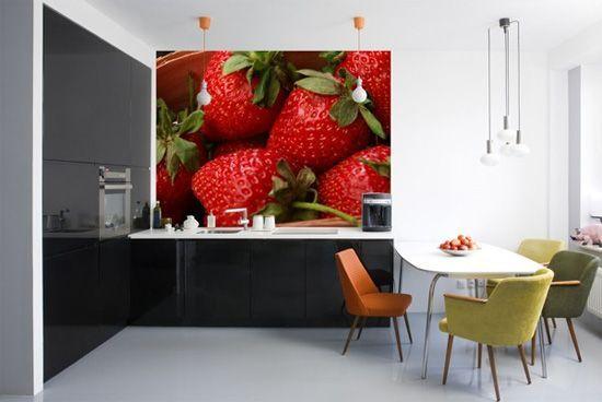 Decoracion de cocinas inspiradas en fresas 3 papel mural Decoracion paredes cocinas modernas