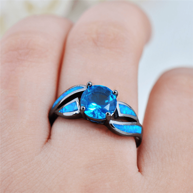 Blue Opal Ring (With images) Black gold jewelry, Blue