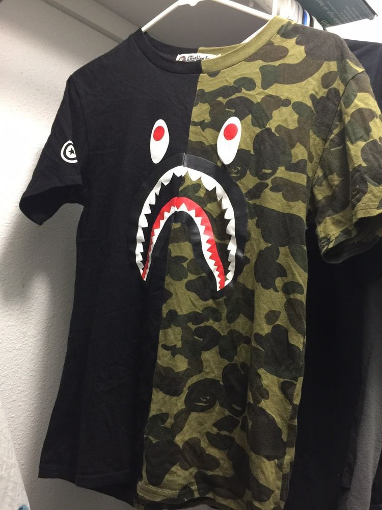 dfcc0997 BAPE A Bathing Ape S Shark Jaw Camo Original T Shirt NWT With Original Bag # fashion #clothing #shoes #accessories #mensclothing #shirts (ebay link)
