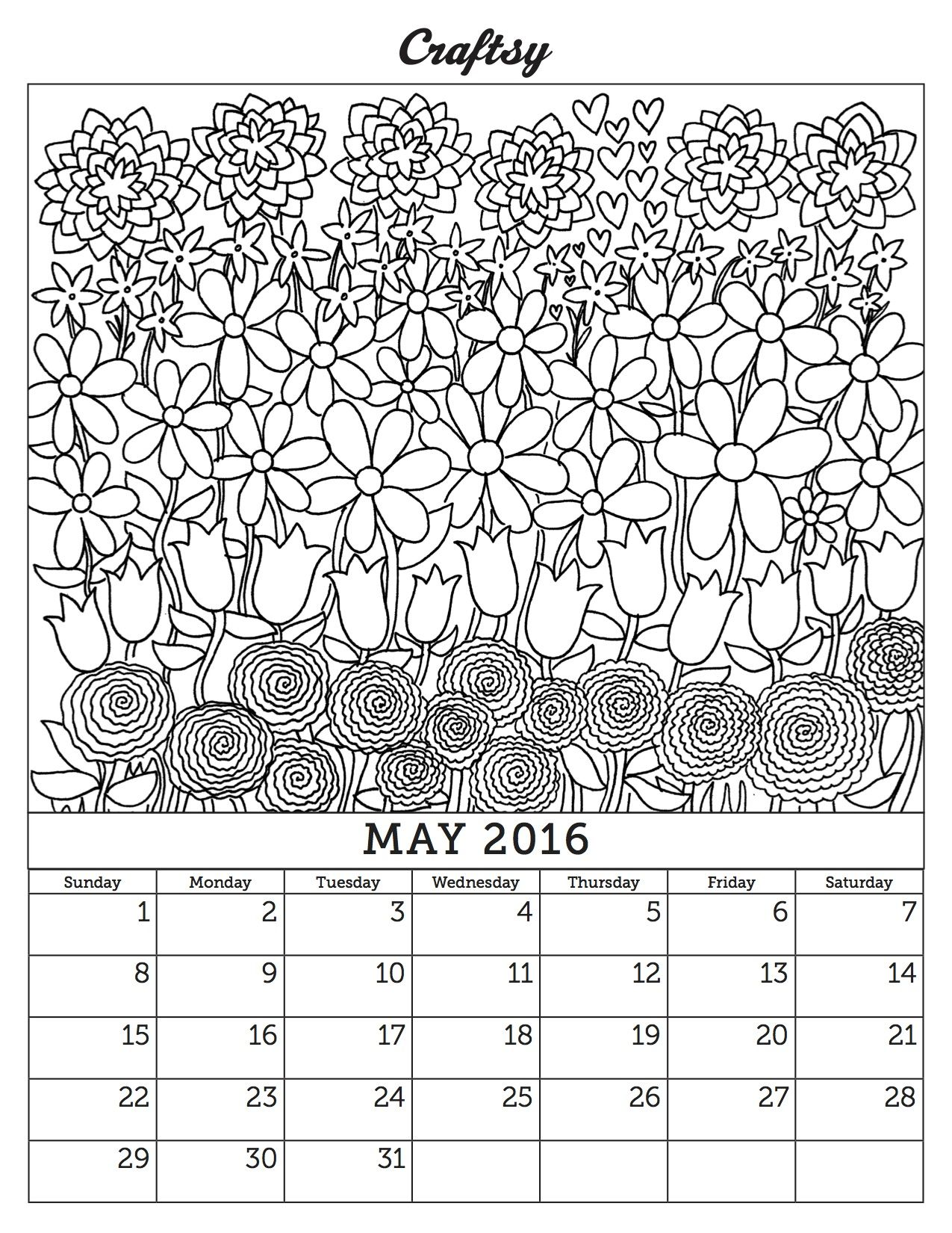 May 2016 Free Coloring Page Calendar Free Coloring Pages