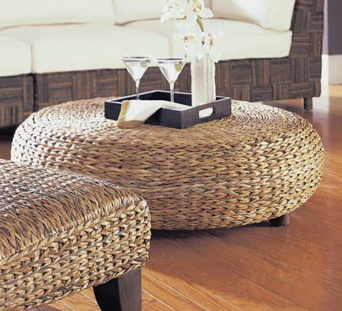 Oversized Round Abaca Weave Wicker Ottoman Rattan Coffee Table