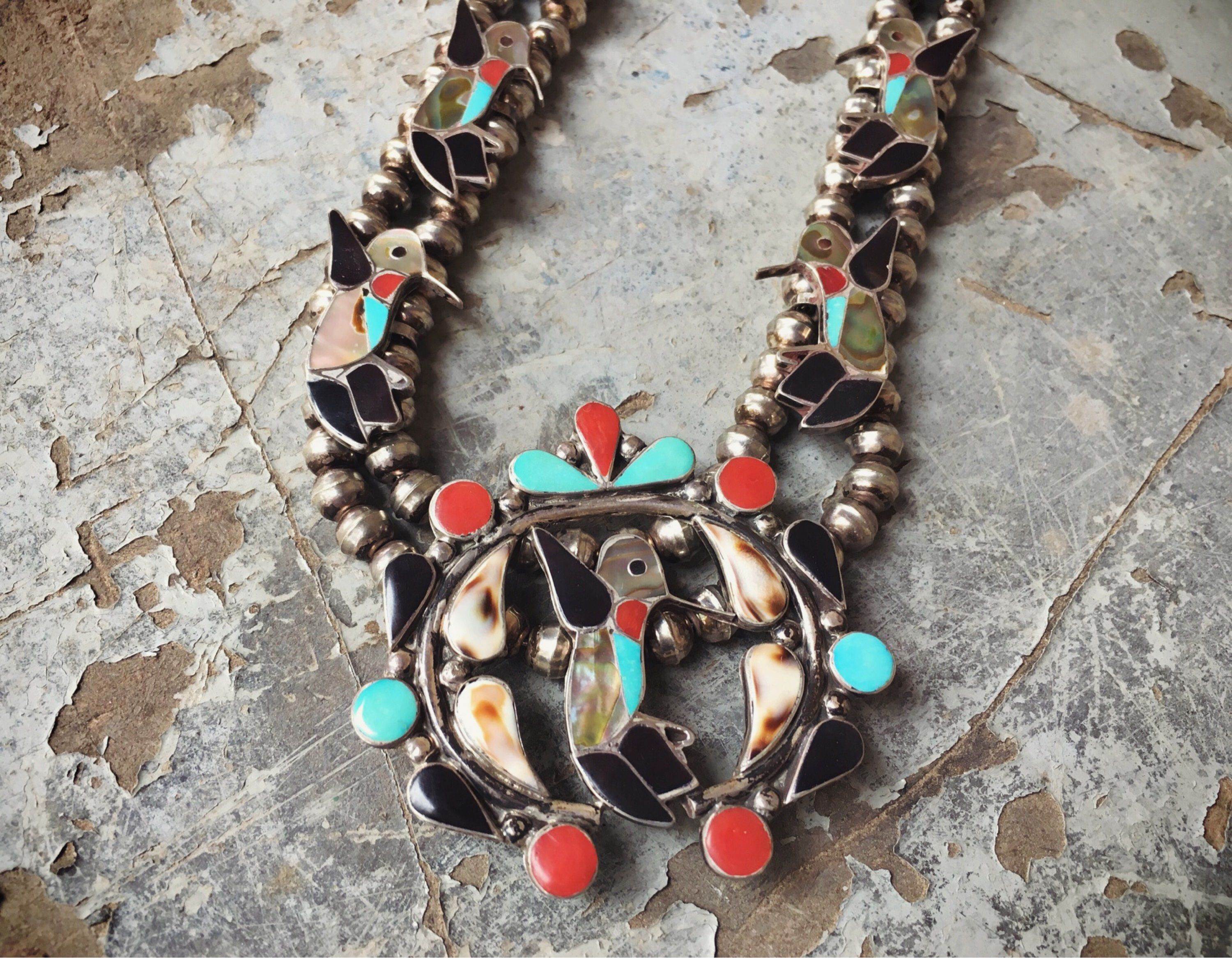 turquoise inlay front by american zuni necklace pendant othole native