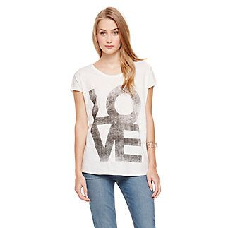 """TWO BY VINCE CAMUTO SLUB KNIT """"LOVE"""" T-SHIRT-Love: the best four letter word in the dictionary. Shout it out in block letters on a subtle high-low scoop neck tee. Wear this sweet top with printed bottoms and a bright ring to draw attention to the mood boosting outfit.   <li> 100% Cotton <li> Size small: 26.5 front, 28.75"""" back <li> Machine wash, lay flat to dry <li> Made in China"""