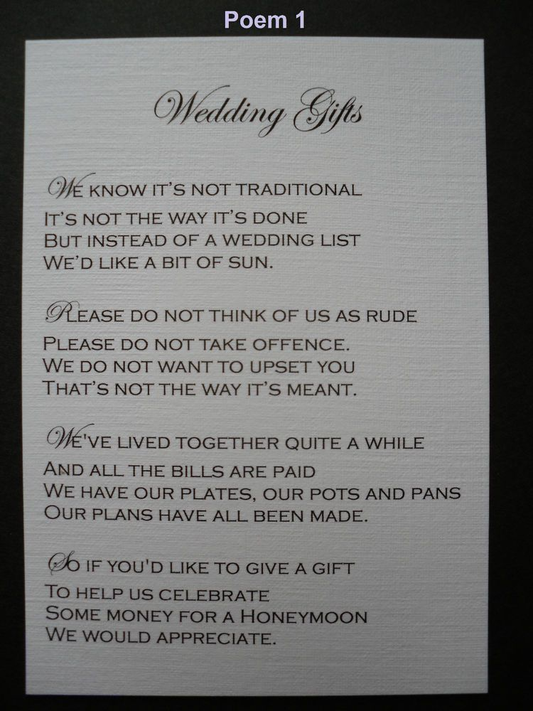 50 Handmade Personalised Wedding Gift Poem Verse Cards Politely Asking For Money
