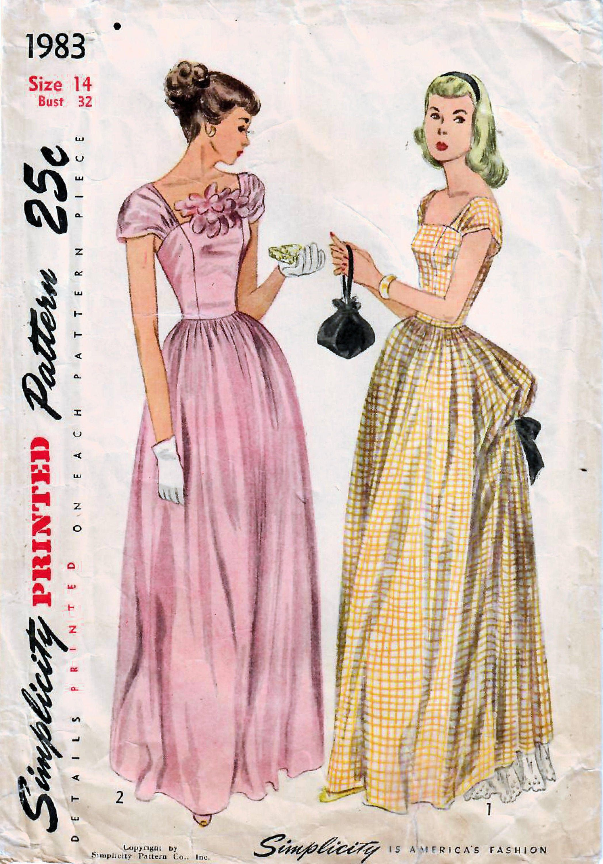 1940s Simplicity 1983 Vintage Sewing Pattern Misses Evening Etsy Evening Dress Patterns Formal Dress Patterns Prom Dress Pattern [ 3000 x 2097 Pixel ]