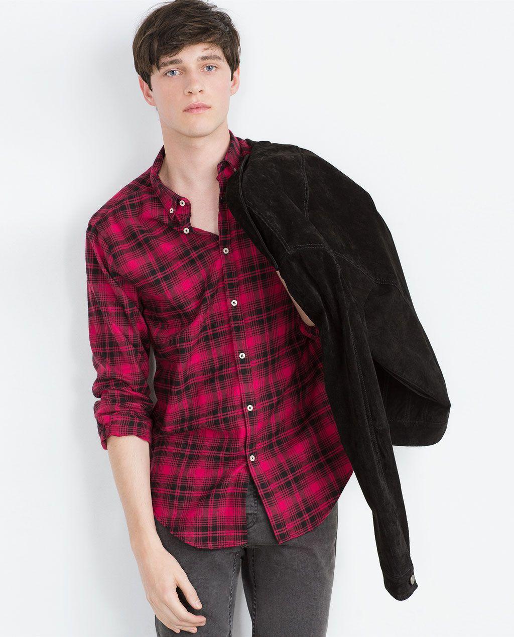 Zara flannel shirt mens  FLANNEL SHIRT  Zara  Pinterest  Men shirts