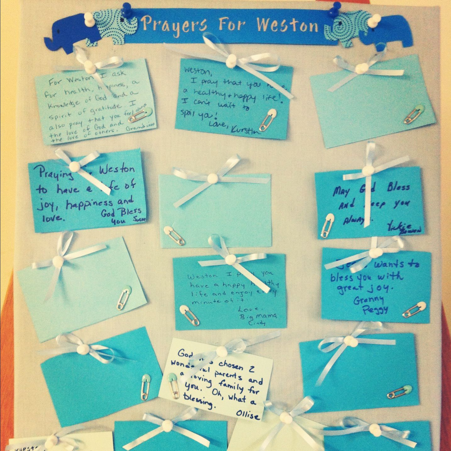 Blessing Board I made for Weston\'s baby shower! I used a cork board ...