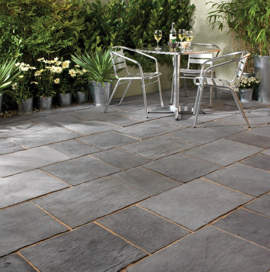 Patio Ideas With Existing Concrete Slab: Enthralling Slate Pavers For Patio On Running Bond Tile