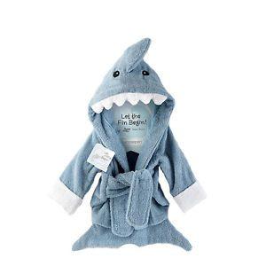 Blue Shark Baby Boy Dressing Gown Splash Wrap Bath Hooded Towel Robe