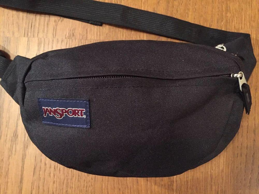 Vintage JanSport Fanny Waist Belt Pack - 2 Pocket - Black - Adjustable  Strap  fashion 089bf9779242