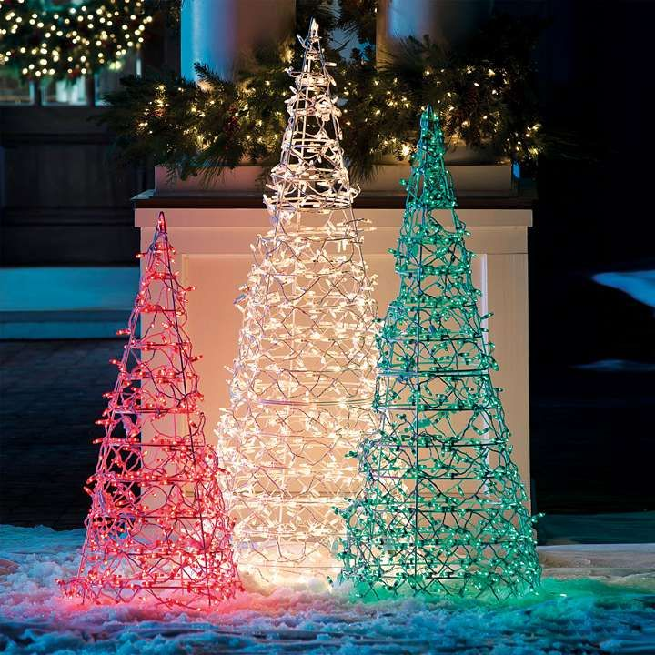 72 Clear Lighted Cone Tree Frontgate Commercial Christmas Decorations Outdoor Christmas Decorations Lights Decorating With Christmas Lights