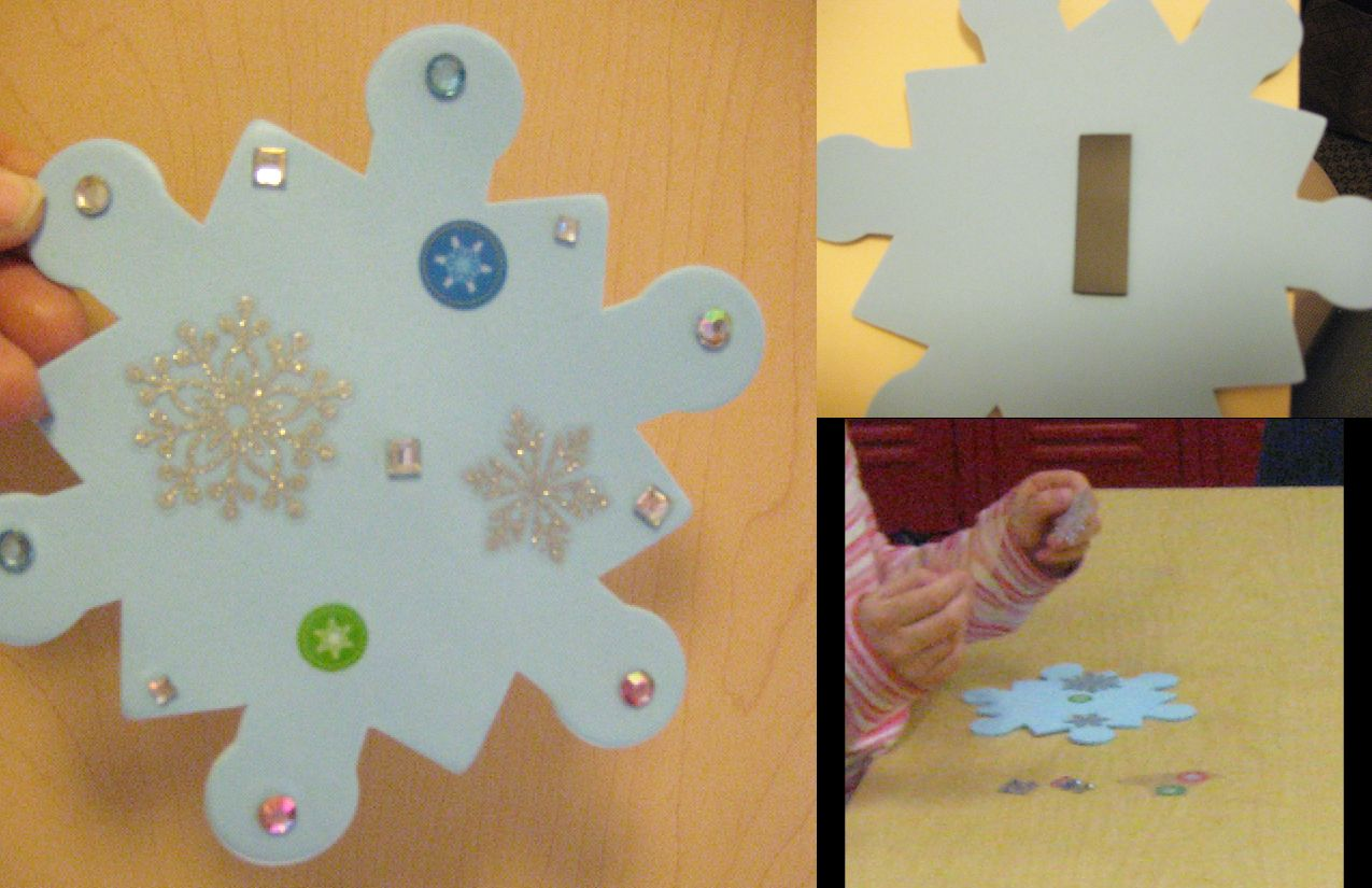 Christmas classroom craft project - Snowflake magnets (EVERYTHING is self adhesive so it's quick and easy...an no worry about time for glue to dry) --- MATERIALS: foam snowflakes / roll of magnets cut into segments (pre-applied) / various holiday stickers