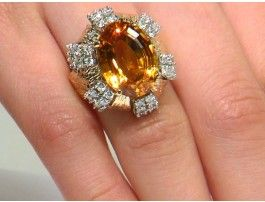 Estate 11.05 ct Citrine & 1.75 ctw Diamond 14K Yellow Gold Ring Approx.Wt.
