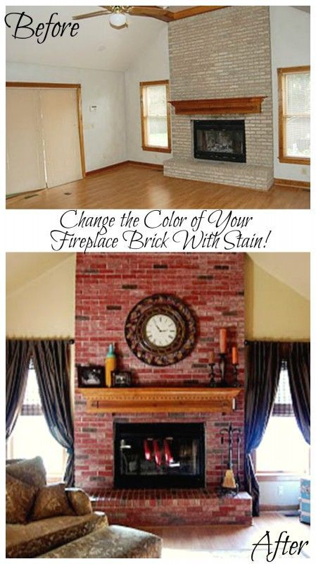 Change The Color Of Your Fireplace Brick With Stain Remodelaholic Stained Brick Update Brick Fireplace Brick Fireplace