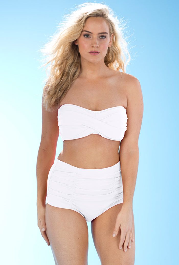 70447bfaa55 Valentine White Bandeau Bikini with Shirred Brief   Honeymoon ideas ...