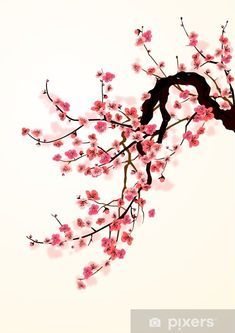 Sakura Wall Mural Pixers We Live To Change In 2021 Cherry Blossom Art Cherry Blossom Painting Cherry Blossom Wall Art