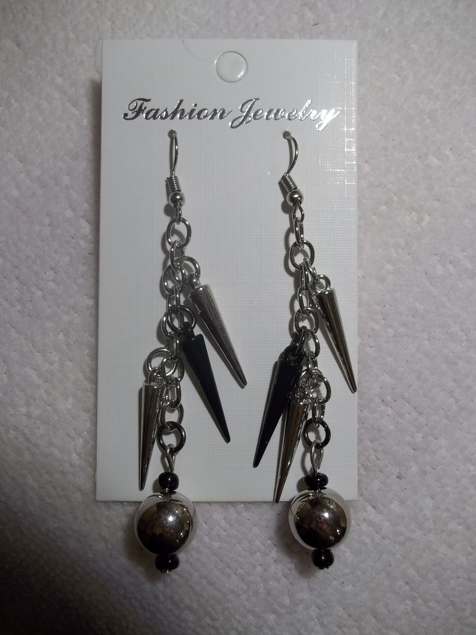 Silver Black/Silver Beads and Cones Earrings