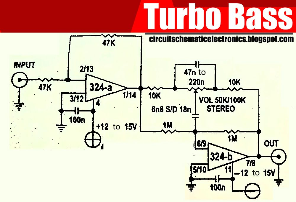 Lm324 Circuit Diagram | Turbo Bass With Ic Lm324