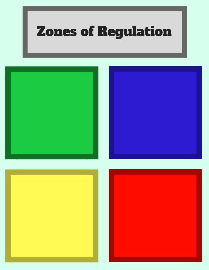 This is a picture of Zones of Regulation Printable throughout sheet