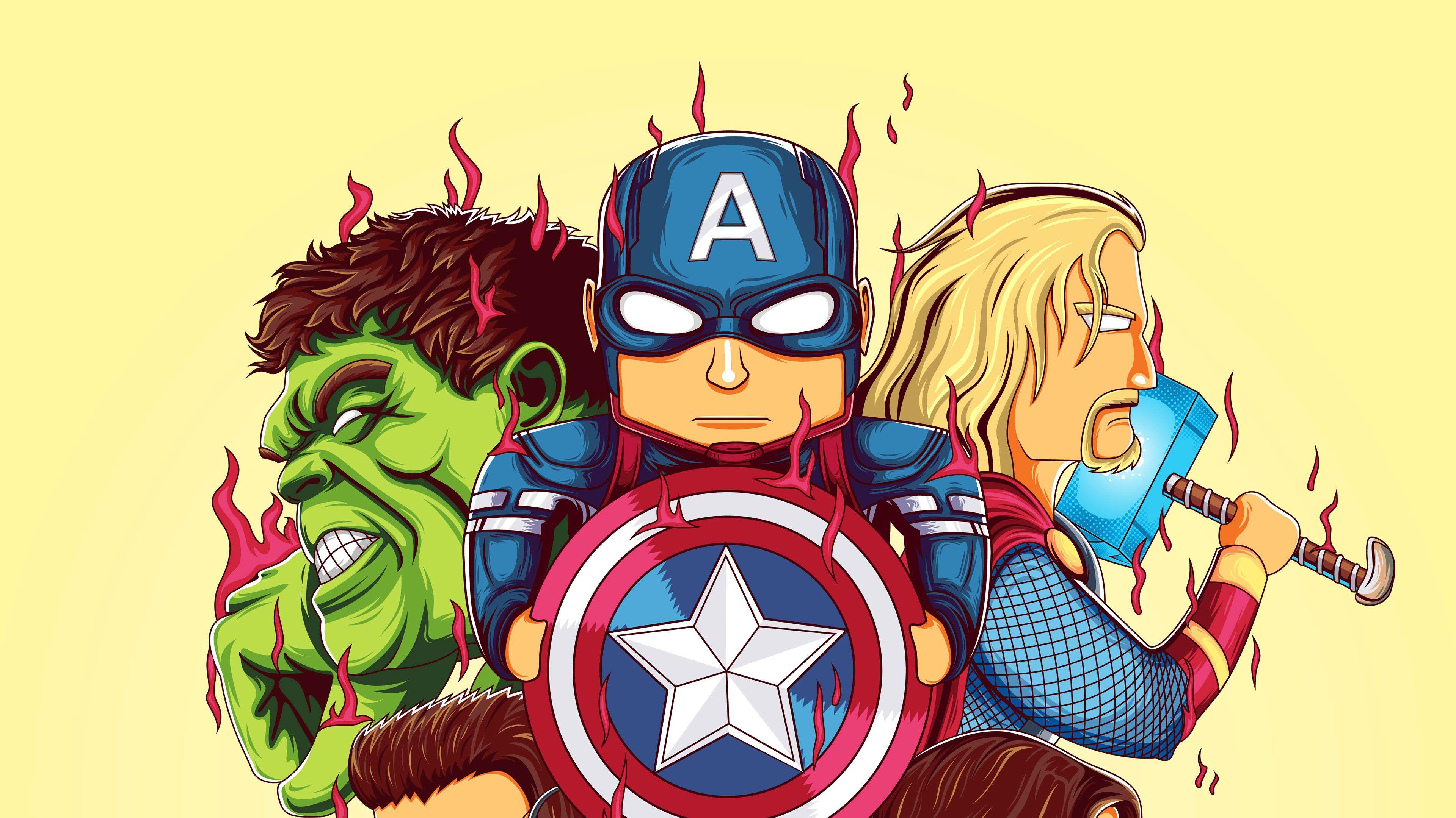 Little Avengers 4k Thor Wallpapers Superheroes Wallpapers Hulk Wallpapers Hd Wallpapers Digital Captain America Wallpaper Thor Wallpaper Avengers Wallpaper