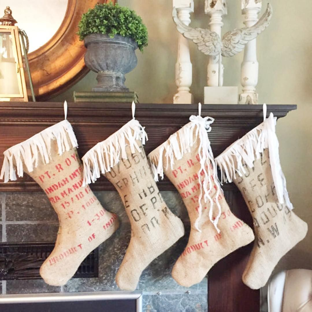White Farmhouse Christmas Burlap christmas stockings