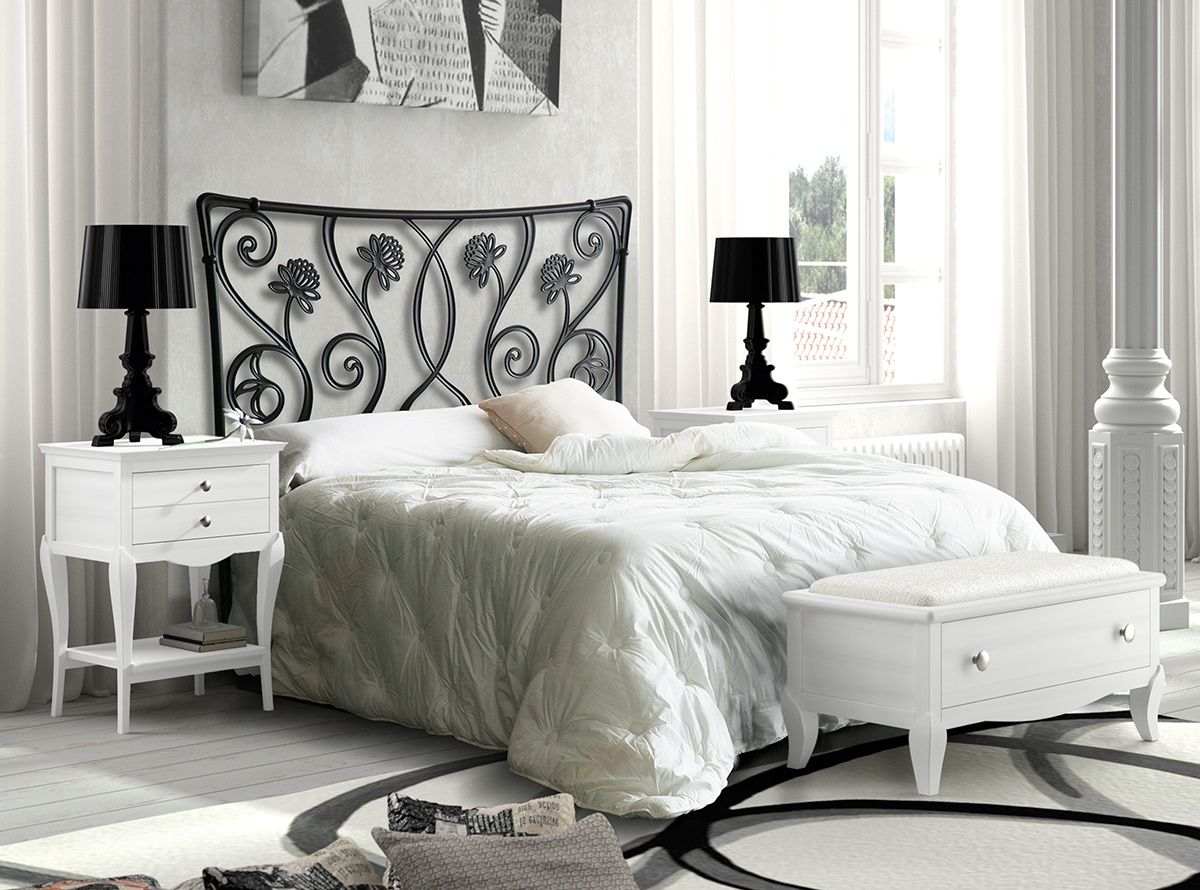 Dormitorio compuesto por cabecero de aluminio negro con motivos ...