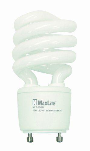 Maxlite Mls13guww 11279 13watt 2700k Gu24 Selfballast Cfl Lamp Warm White Want Ad Compact Fluorescent Bulbs Fluorescent Light Bulb Energy Efficient Lighting