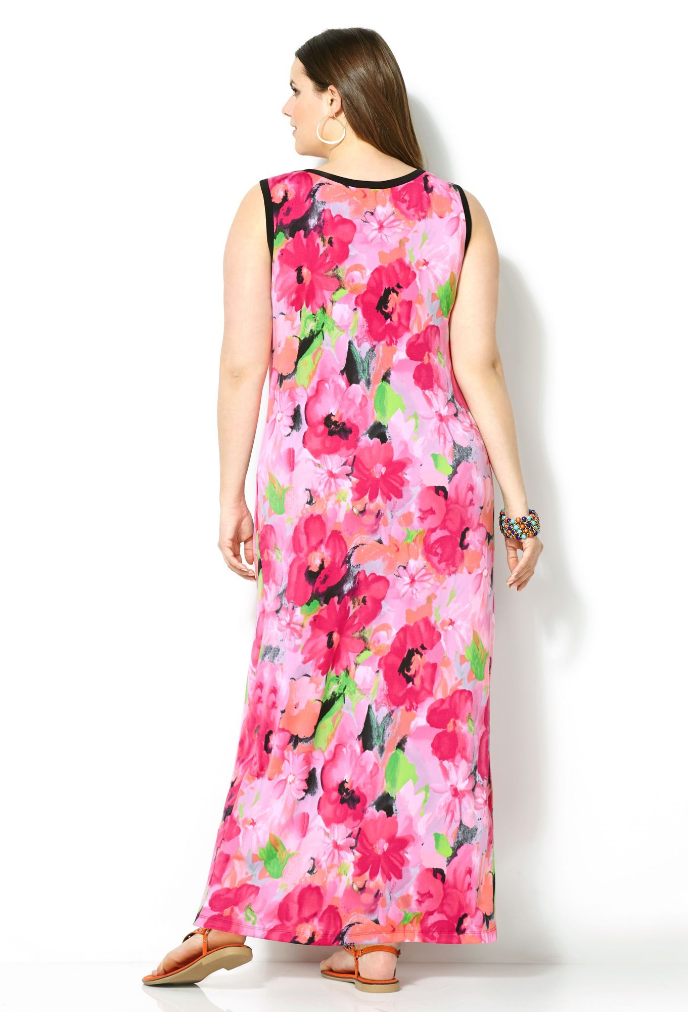 Watercolor Floral Maxi Dress-Plus Size Maxi Dress-Avenue | Sarah ...