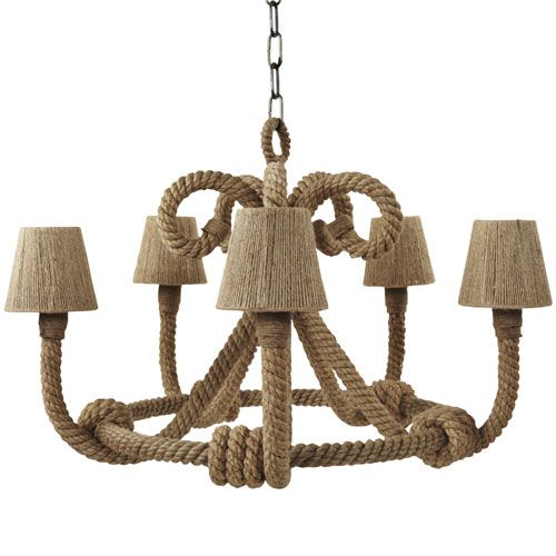 Nautique Chandelier With Jute Shades With Images Rope