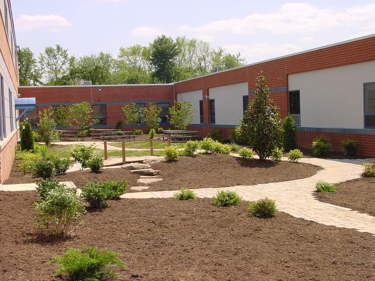 A garden and pathways installed at a local elementary school ...