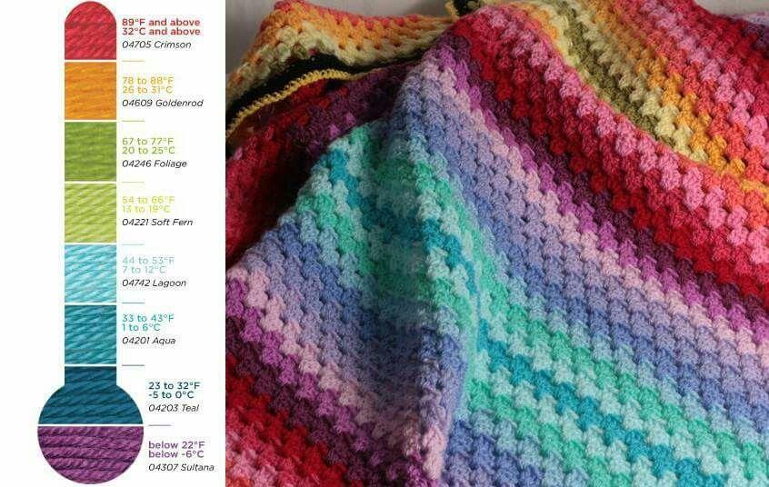 Crochet Temperature Afghan + Tutorials | Crochet | Crochet, Crochet