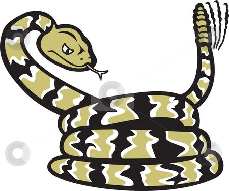 rattlesnake shilouettes and clip art | Rattlesnake Cartoon stock vector clipart, A cartoon of a coiled ...