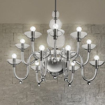 Leucos Danieli Suspension 6 Light Candle-Style Chandelier Finish: Chrome / Crystal