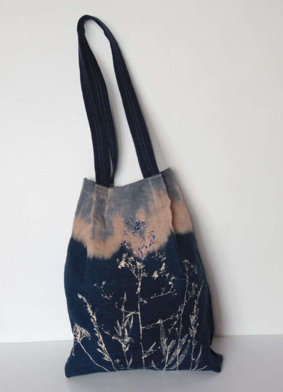 linen tote bag with zipper pocket floral hand printed by olyiri