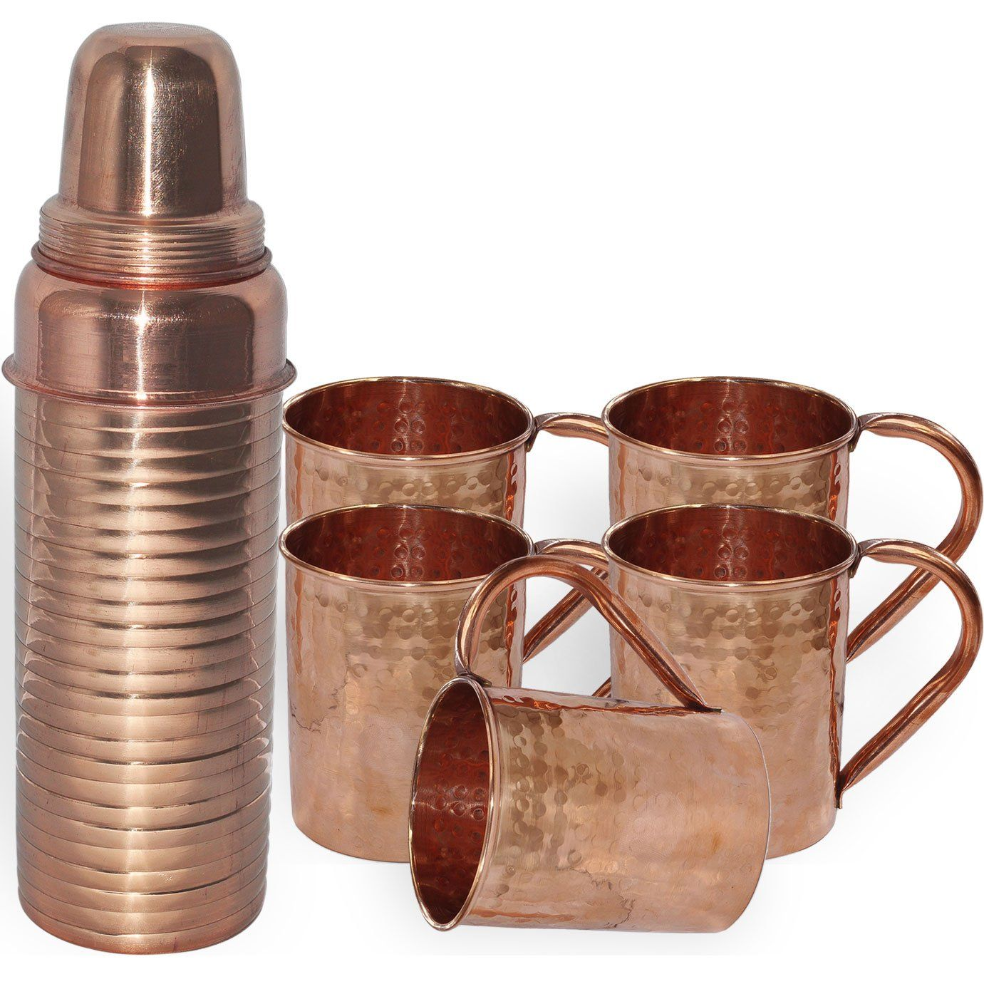 DakshCraft /® Pure Copper Thermos Lining Bottle with 4 Handmade Pure Copper Hammered Moscow Mule Mug Sets