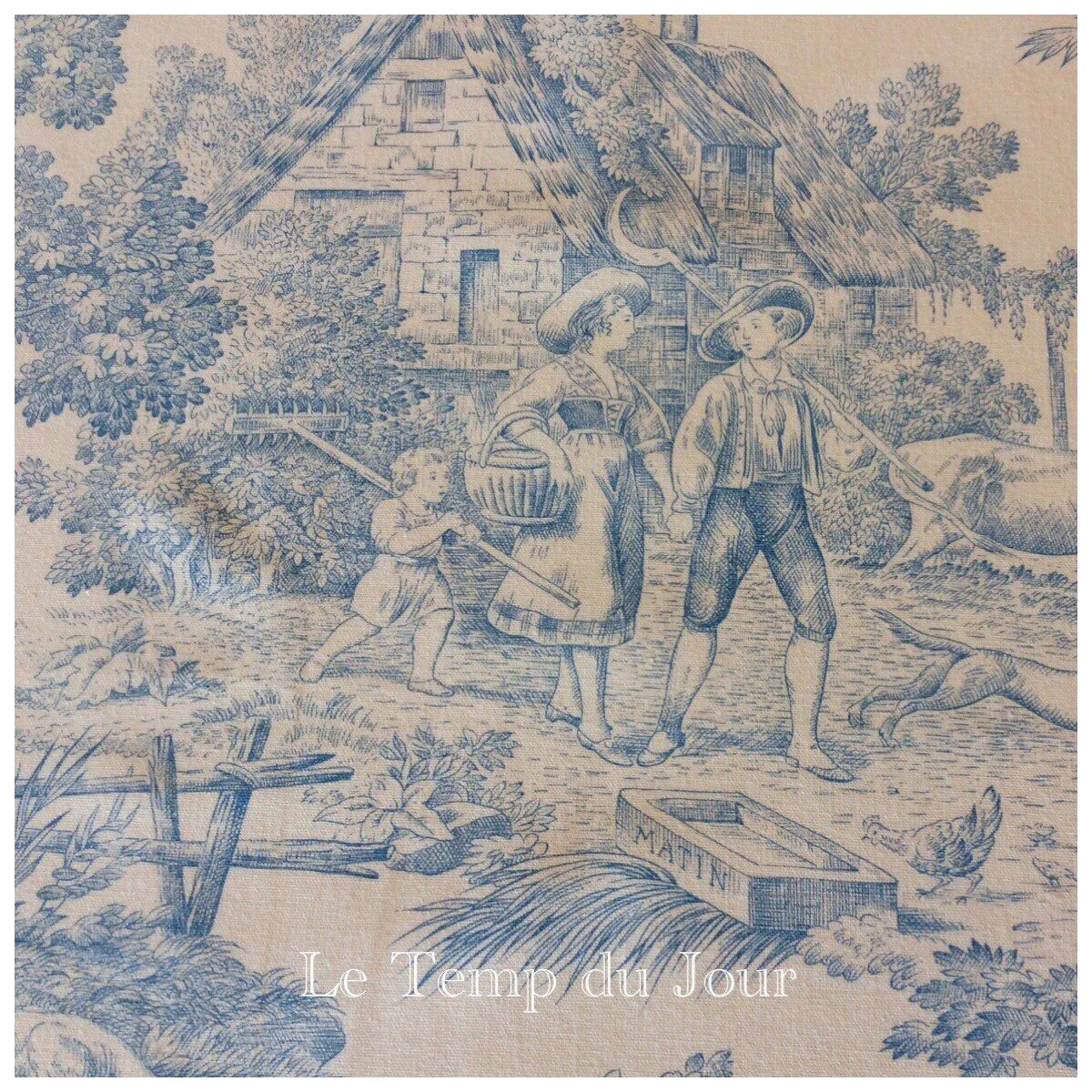 Französischer Landhausstil Stoffe Le Temp Du Jour French Toile De Jouy Light Blue On Cream