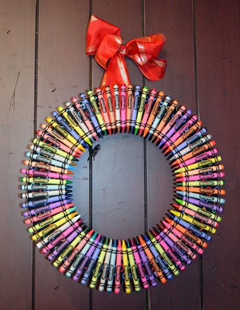 Crayon wreath.  Perfect for an elementary classroom door!