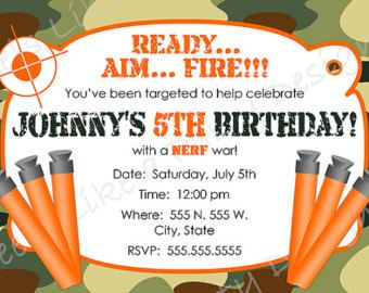 Nerf Party Nerf Party Pinterest Nerf Party Birthdays And Guns - Party invitation template: nerf war party invitation template