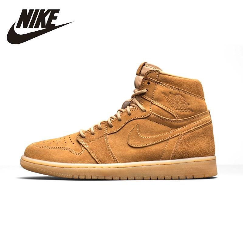 online store 3e44c 301da NIKE Air Jordan 1 Wheat Original Mens Basketball Shoes Breathable Stability  Retro High Comfortable Sneakers For