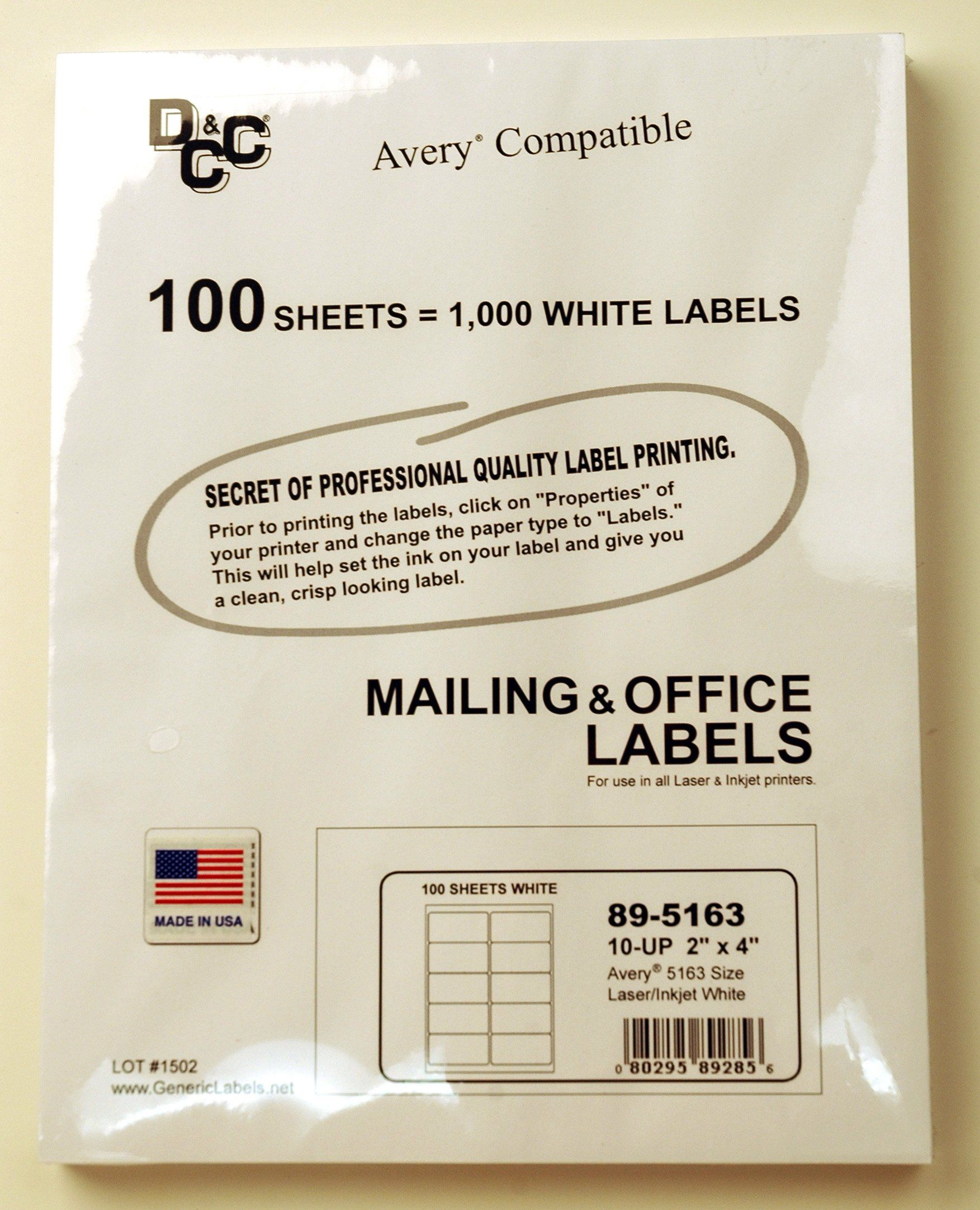 Amazon Com Dcc Generic White Self Adhesive Mailing Labels 2 X 4 Avery 5163 Size Pack 100 Sheets Shippi Avery Shipping Labels Printing Labels Shipping Labels Avery shipping labels 5163 template
