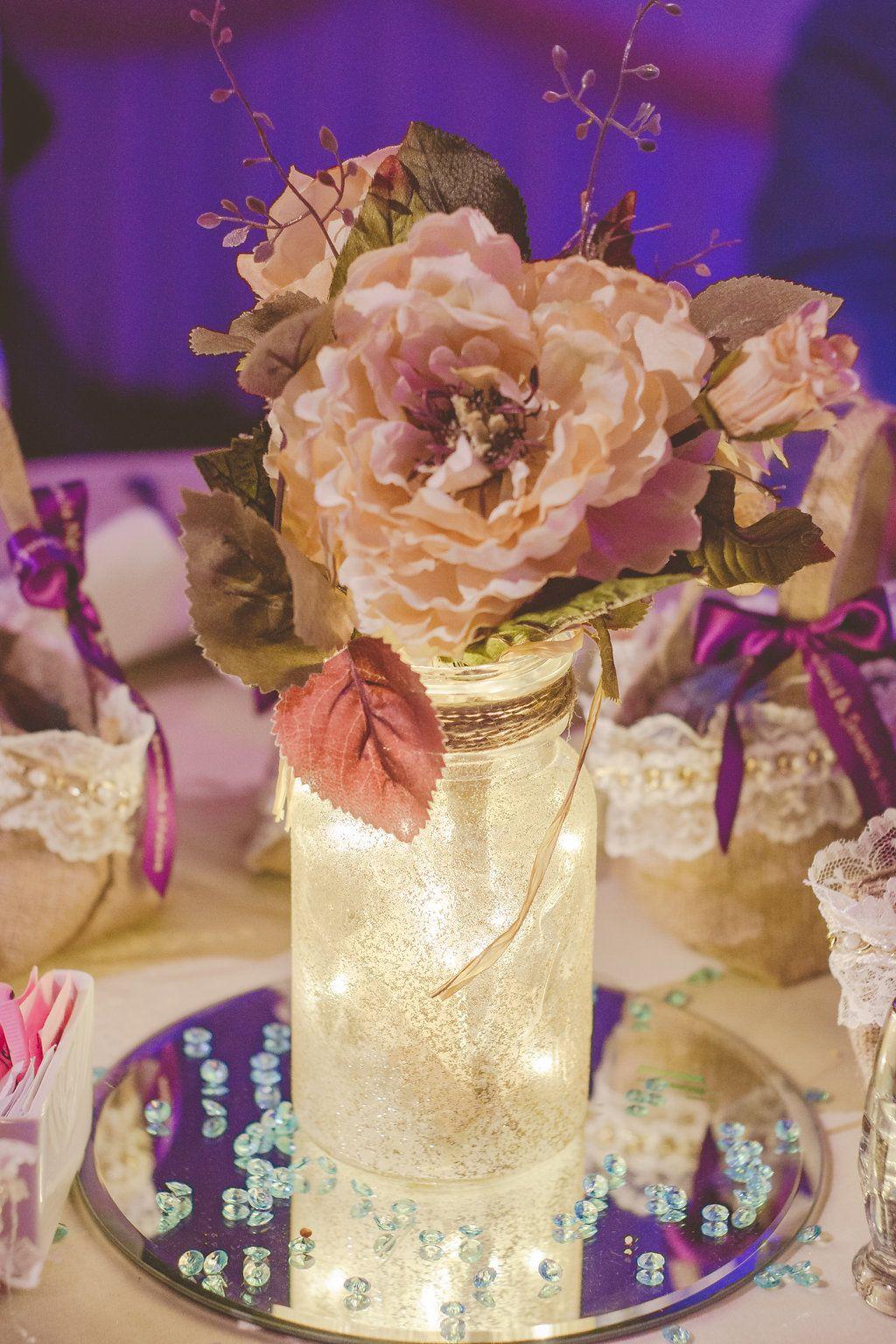 Wedding Reception Center Pieces Diy Glitter Mason Jars With Fairy Lights And Twine Silk Flowers Round Mirrors Bead