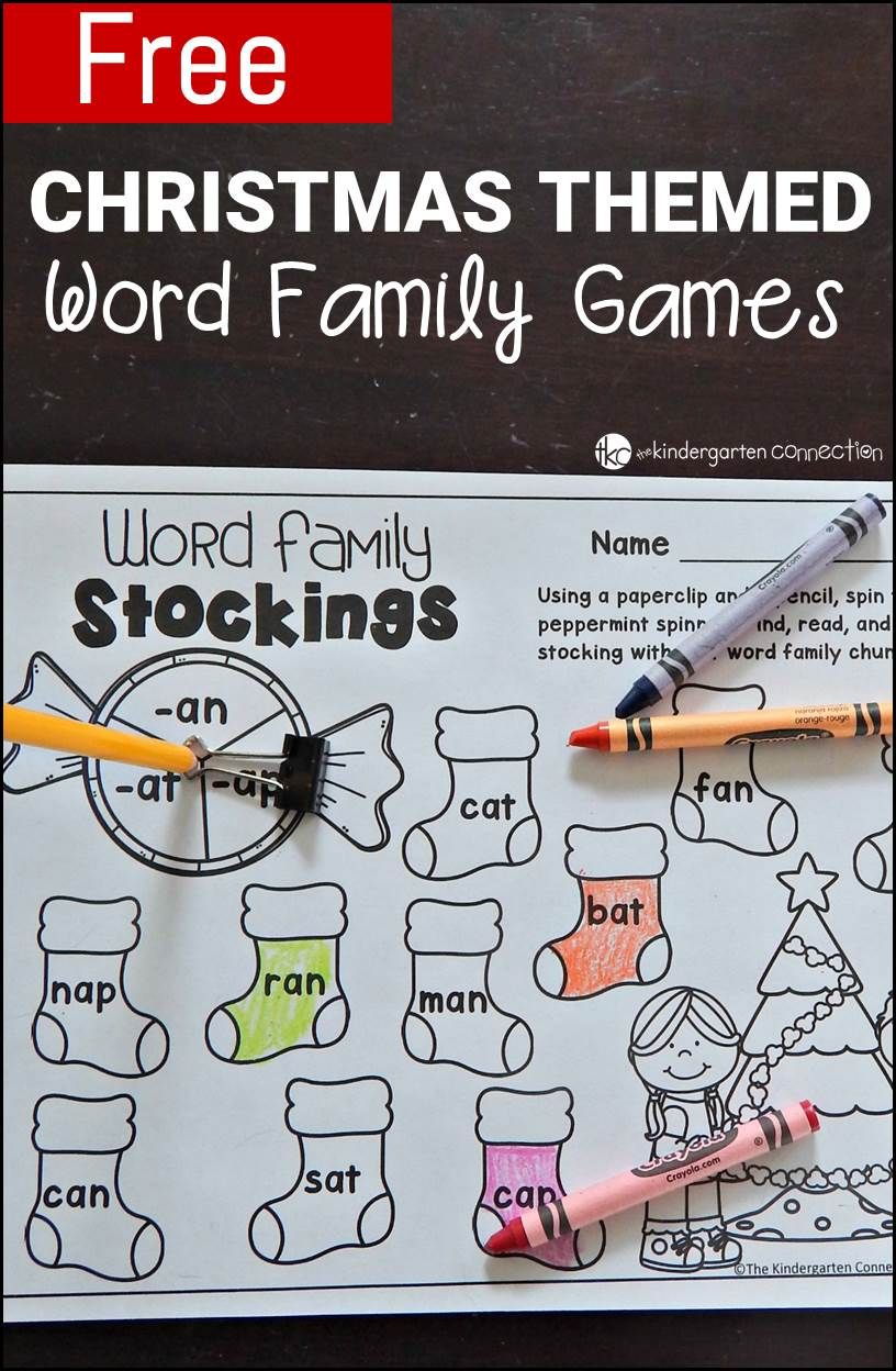 Free Printable Christmas-Themed Word Family Games | Literacy, Pre ...
