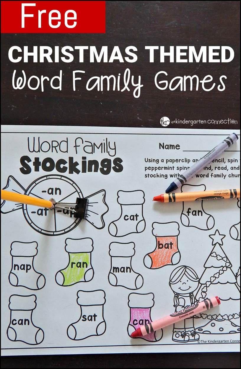 Free Printable Christmas-Themed Word Family Games | KinderLand ...