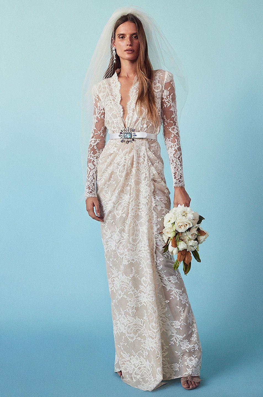 ALEXANDER MCQUEEN** Sara Lace Wrap Dress Gown Bridal Wedding Event ...